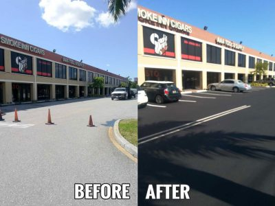 Before After Parking Lot Seal Coating